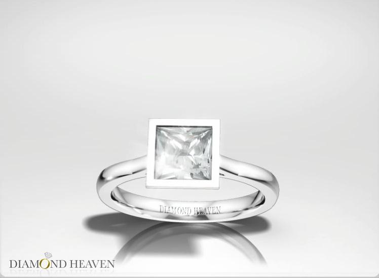 Rub Over Princess Cut Diamond Engagement Ring