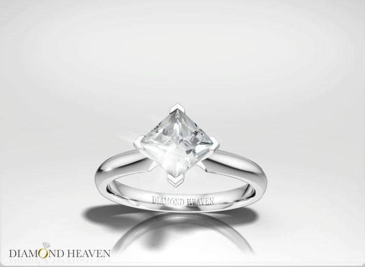 Compass Set Princess Cut Diamond Engagement Ring